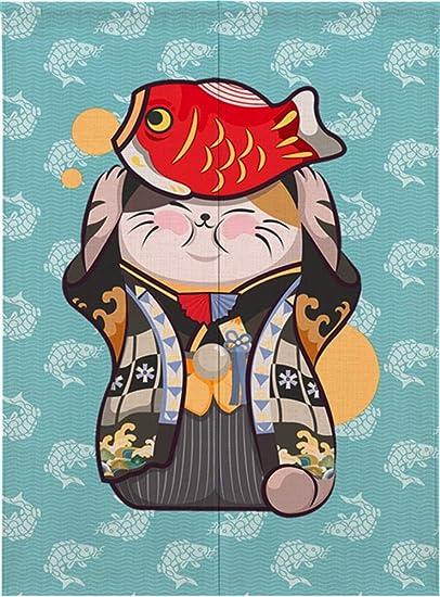 Ommda Noren Rideau Chinois Japonais Chat Chanceux Tapisserie Coton Rideau de Lotus Noren Rideau Tapisserie avec Tige,B/énisse Les Chats,80x90cm
