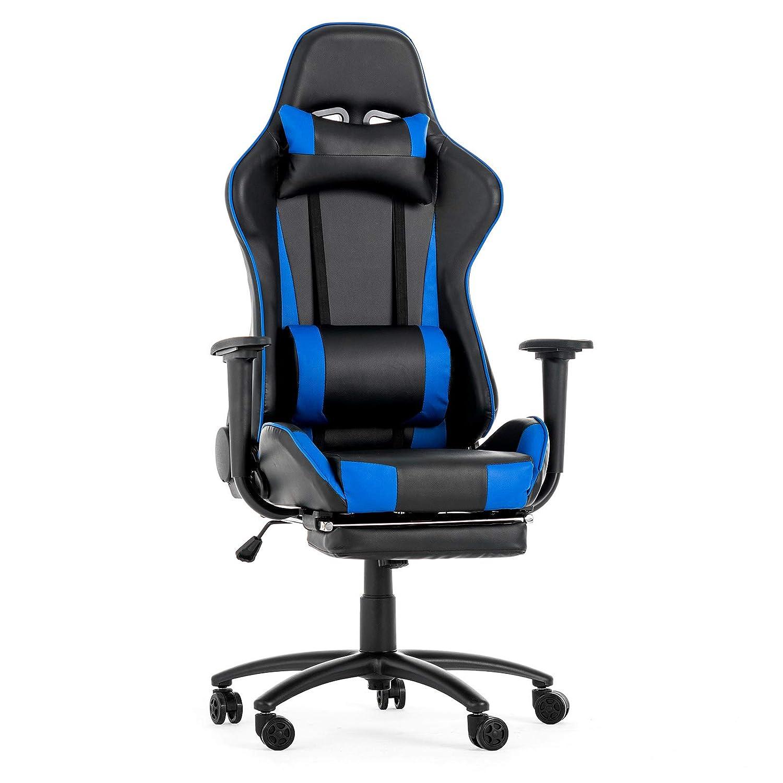 mecor Racer-X Gaming Stuhl Racing Stuhl mit Fu/ßst/ütze PC Stuhl Schwarz//Blau