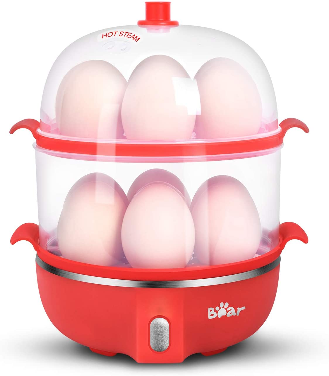 Rapid Electric Egg Cooker Poacher Bear, 14 Capacity Egg Boiler for Poached Scrambled Omelets Steamed Vegetables Dumplings, Hard Boiled Egg Cooker Maker with Auto Shut-Off, Red
