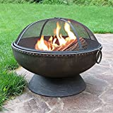 30 Inch Fire Bowl Fire Pit with Handles and Spark Screen by Sunnydaze