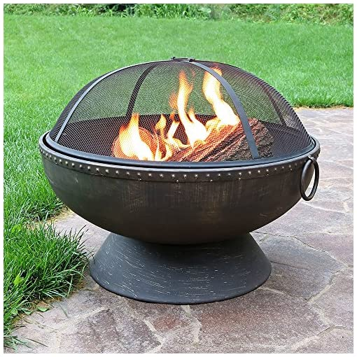 Fire Pits Sunnydaze Outdoor Fire Pit Bowl – 30 Inch Large Round Wood Burning Patio & Backyard Firepit for Outside with Spark… firepits