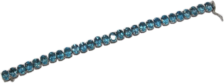 Rajasthan Gems Pulsera hecha a mano de plata de ley 925 con topacio azul natural, tamaño 19 cm