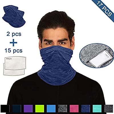 Ulanda 2PC Neck Gaiter with 15PCFilter Multifunctional Head Scarf Neck Cover With Safety Filter Washable Face Cover (2PC Dark Blue): Kitchen & Dining