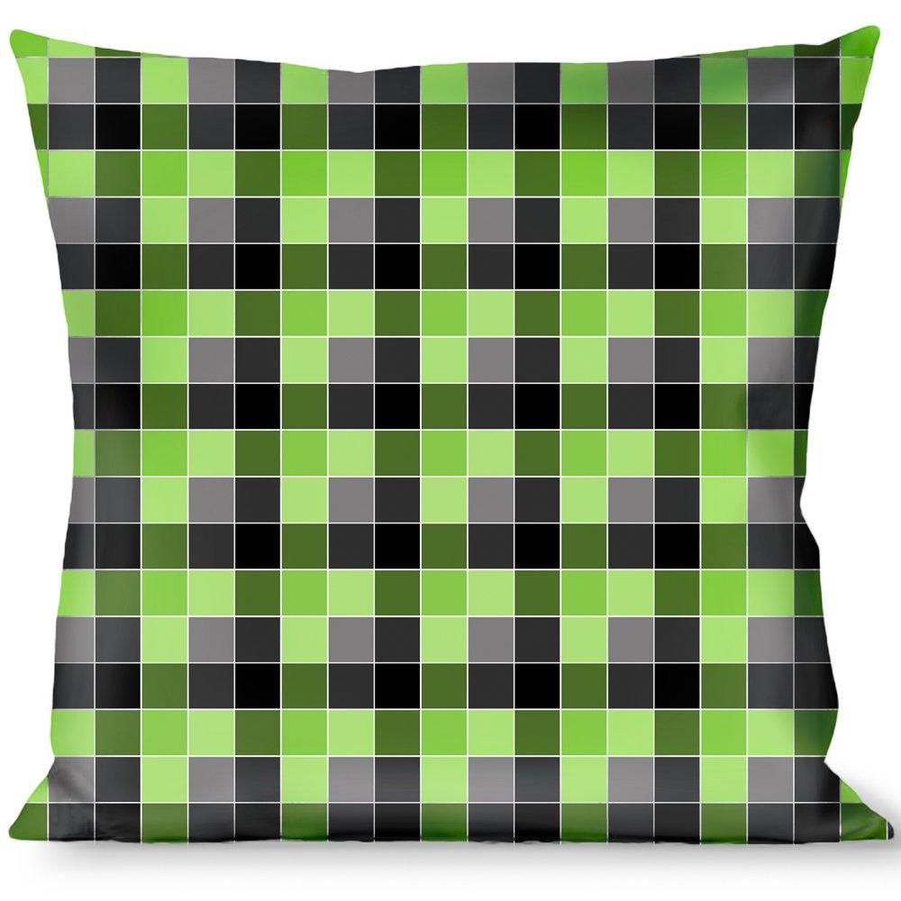 Multicolor Buckle Down Checker Mosaic Green Throw Pillow