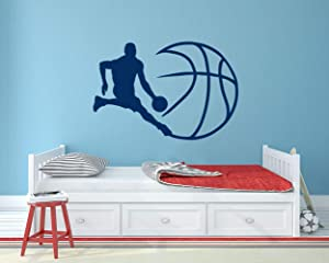 Basketball Wall Decal Nursery. Vinyl Wall Art Stickers Sports. Basketball Wall Decor Boys and Girls Room. Ball Wall Decal Bedroom. MO60 33.5