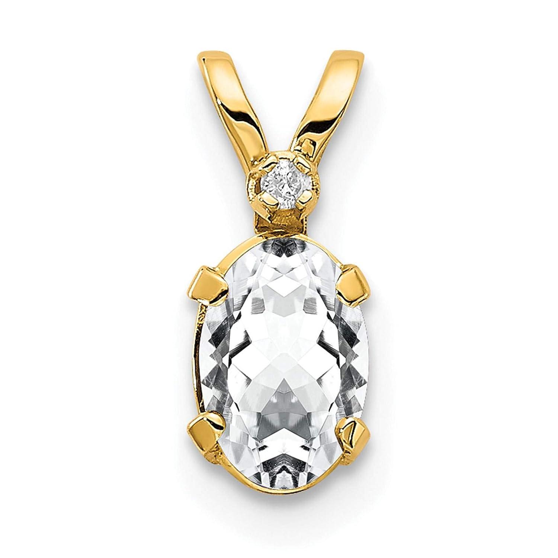 14K Yellow Gold Diamond /& White Topaz April Stone Pendant