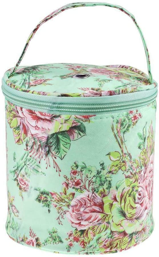 Kathleen0 Storage Bag DIY Tote Organizer Empty Craft Tools Line Yarn Floral Print Portable Knitting Wool Hanging Sewing for Crochet Small Drum