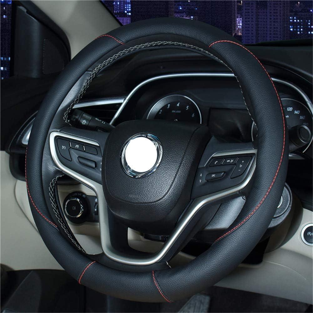Flat Bottom Car Steering Wheel Protector D Cut Shaped Diameter 38cm White Line HYUGO D Type Steering Wheel Cover Black 15