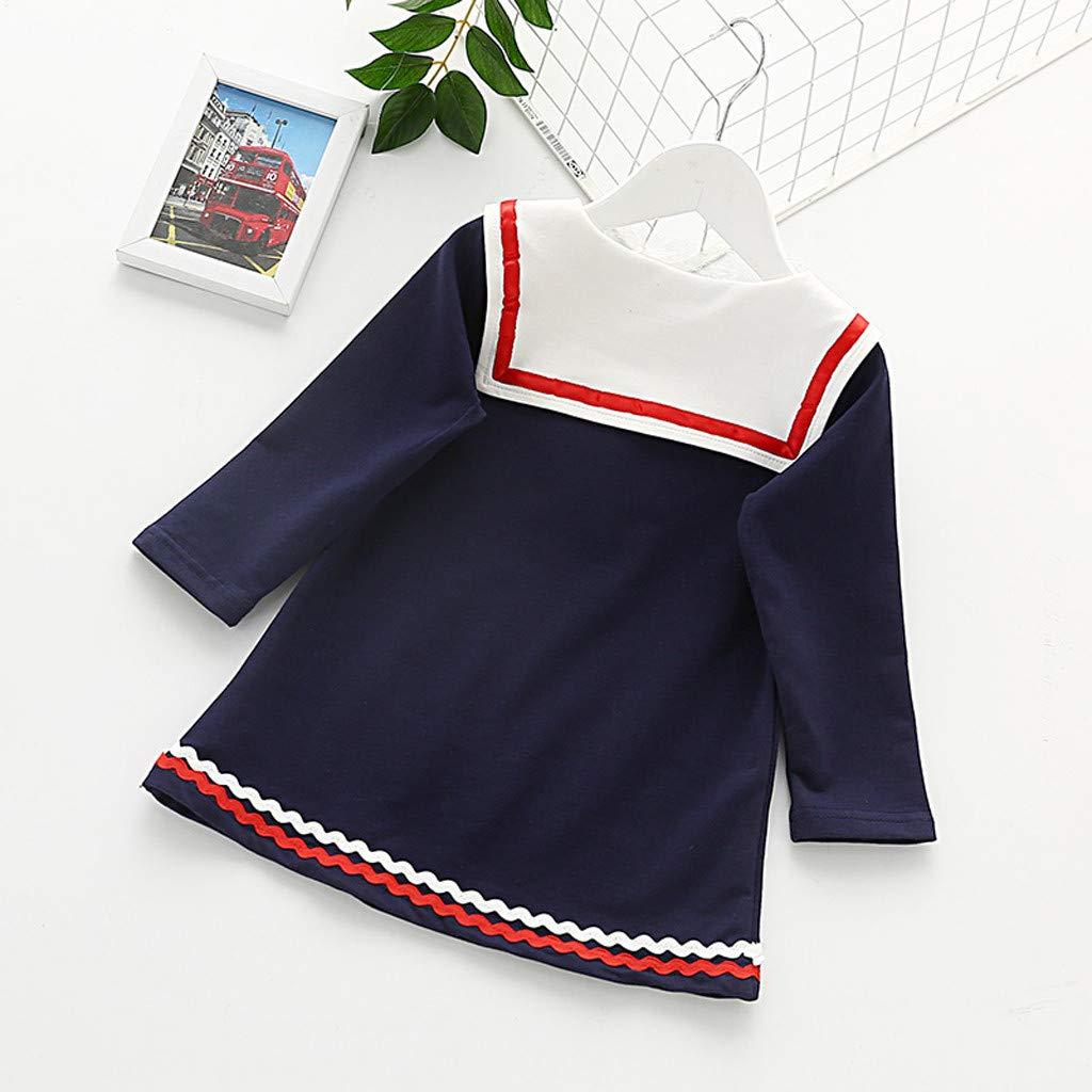 M/ädchen Kleider T-Shirt Kleid mit Bogen Matrosen Kleid Puppenkragen Freizeit Kleid Herbst Winter T-Shirt Kleid S/äugling Kleinkind Baby M/ädchen Schwester Kleider