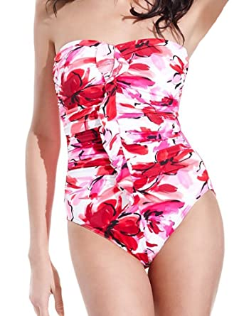 5c4f155112a18 Miraclesuit Strapless Swimsuit Camilla Bandeau Ruffled with Underwire  Support, pink floral, 14 at Amazon Women's Clothing store: Fashion One  Piece Swimsuits