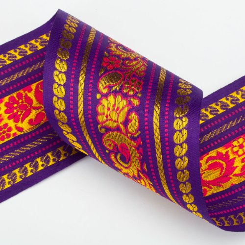 Neotrims Wide India Paisley Peacock Sari Salwar Kameez Craft Ribbon Material 9cm. Peacock Design Indian Ribbon, 9cms. Colourful and vibrant a traditional Sari ribbon Border with floral & Peacock brocade jacquard pattern. 3 Stunning colors to choose from Turquoise; Cerise or Violet. - Trim 100% Polyester Fleece