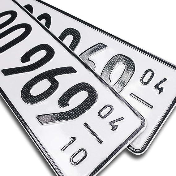 Schildevo 2 Carbon Kfz Saison Kennzeichen Offiziell Amtliche Nummernschilder Din Zertifiziert Eu Wunschkennzeichen Mit Individueller Prägung Autokennzeichen Auto