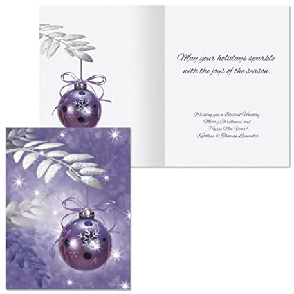 symphony in purple note card size personalized christmas cards set of 20