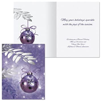 Amazon Symphony In Purple Note Card Size Personalized Christmas Cards Set Of 20 Office Products