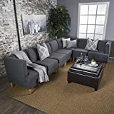 Milltown Mid Century Modern Fabric 7 Piece Sectional Sofa Set (Dark Grey)