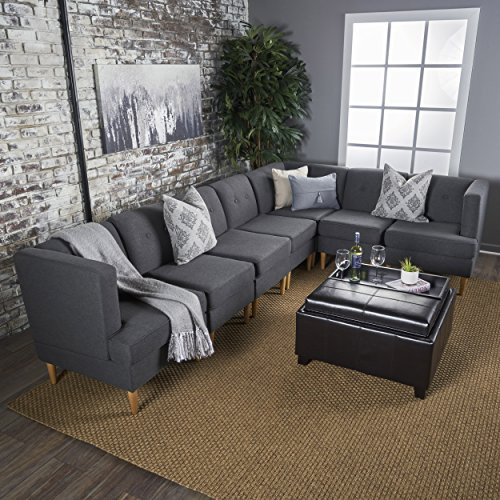 Milltown Mid Century Modern Fabric 7 Piece Sectional Sofa Set (Dark Grey) - Fabric Upholstered Corner Chair