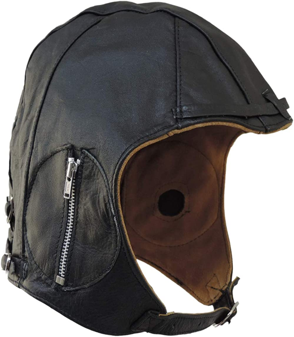 New Old Stock Vintage Leather Skull Cap Black Motorcycle Leather