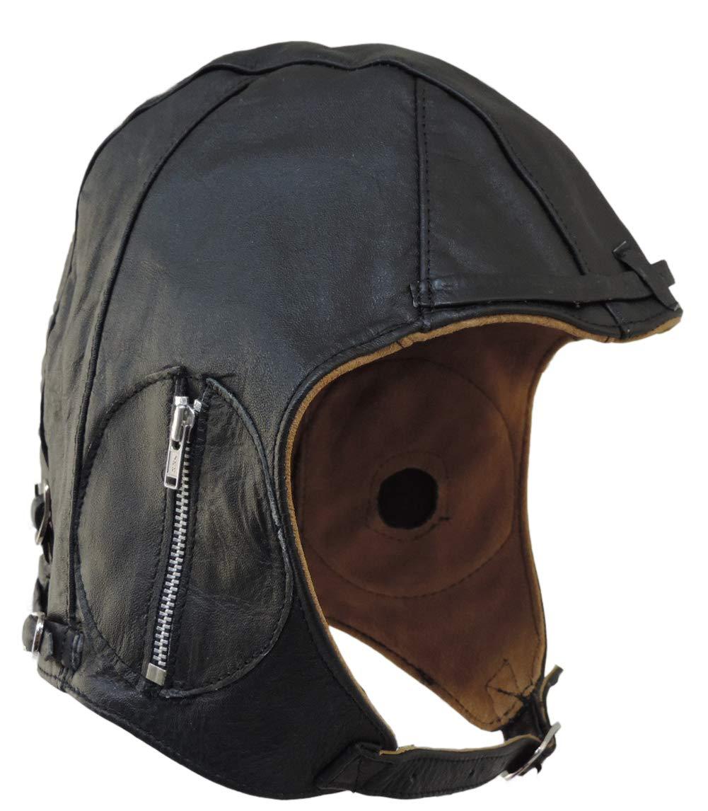 Aviator Black Leather Motorcycle Cap Vintage WWII Hat Large by unik