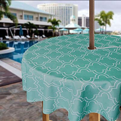 iisutas Outdoor Patio Tablecloth with Umbrella Hole and Zipper, Water and Stain Resistant Fabric Table Cloth for Umbrella Table : Garden & Outdoor