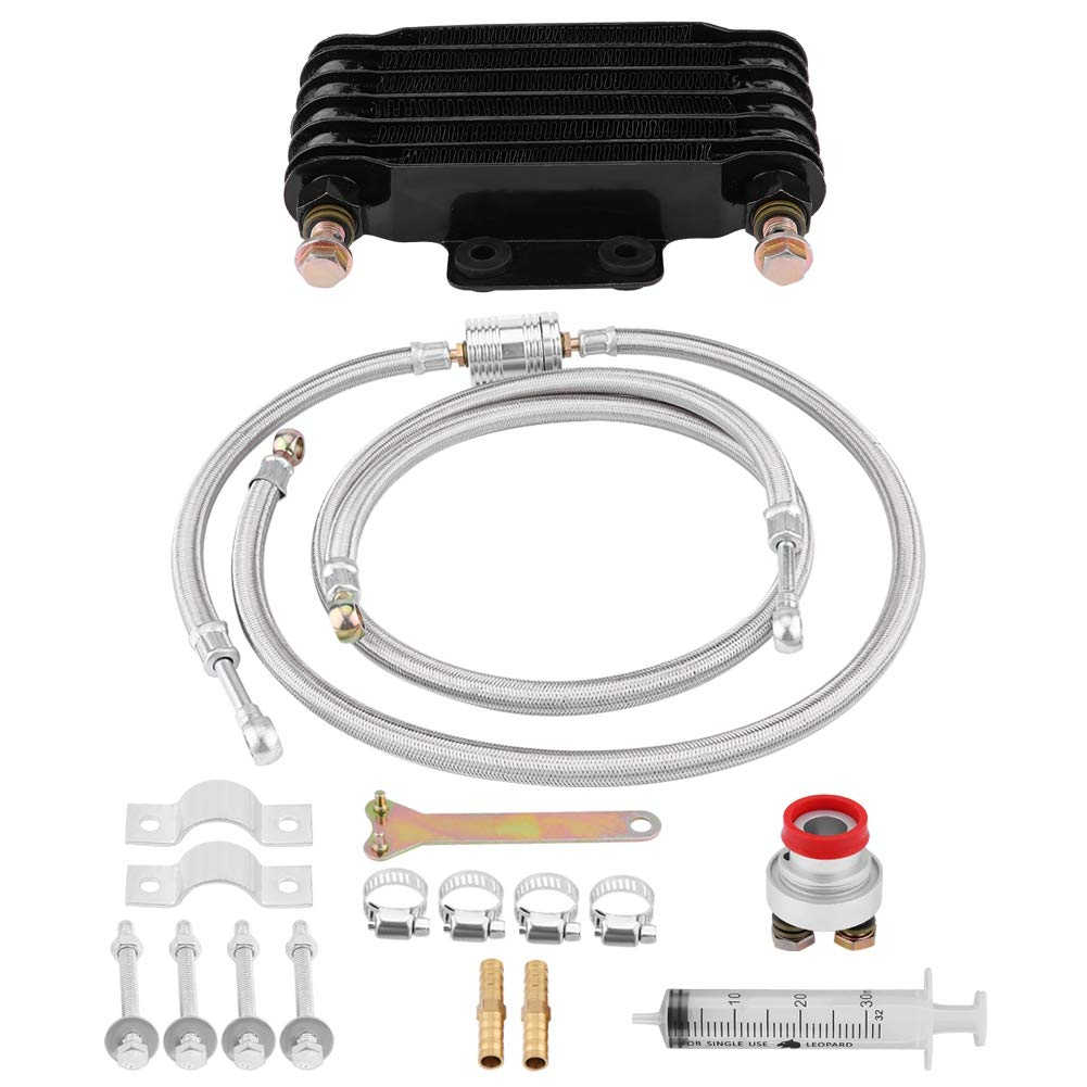 Cuque 85ml Motorcycle Oil Cooler Engine Complete Radiator System Kit Auto Oil Cooling System Kit Fit for Honda GY6 100CC-150CC Engine Aluminum Material(Black) by Cuque