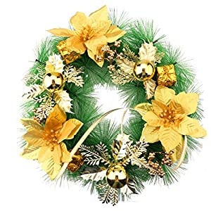 A-SZCXTOP 11.8 Inch Christmas Decorative Wreath Wall or Front Door Hanging Artificial Garland with Gold Balls? Gifts and Flower 1