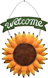 Metal Hanging Sunflower Welcome Door Sign, Front Door Hanging Welcome Sign Sunflower Door Decor for Indoor Outdoor (Color- style 6)