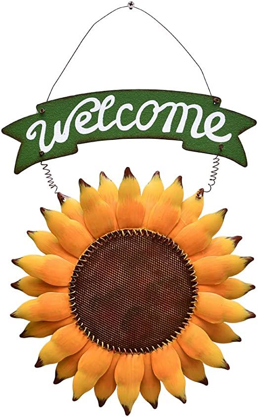 Metal Sunflower Welcome Sign Wall Décor Great Gift Fence Decor