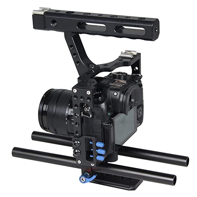 A7RIII /& A7 III Color : Orange Camera Cage Handle Stabilizer for Sony A7 /& A7S /& A7R Panasonic Lumix DMC-GH4 Durable A7R II /& A7S II