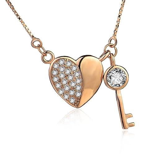 2a2e690d5a03 Swarovski Crystal-Regalos Navidad-Collar para Mujer Corazón y llave Chapado  en Oro Blanco Plata de ley 925 - Oro rosa  Amazon.es  Joyería