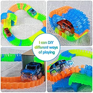 EFOSHM Twister Tracks Mega Set with 2 LED Race Car and 240 pieces Flexible, Bendable track, Magic tracks Glow in the Dark Race 11ft