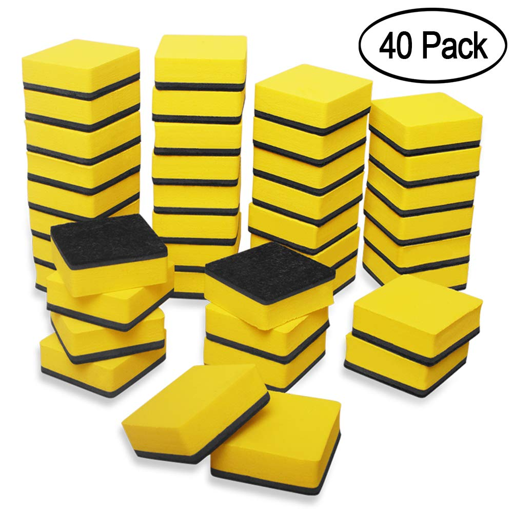 40 Pack Magnetic Whiteboard Dry Eraser Dry Erase Erasers Bulk Chalkboard Eraser Cleaner for Classroom, Office (2 x 2 inch, Yellow) by Heqishun (Image #1)