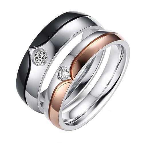 PAMTIER Juego de anillos de boda parejas anillos a juego de acero inoxidable banda de boda Platting con circonita cúbica: Amazon.es: Joyería