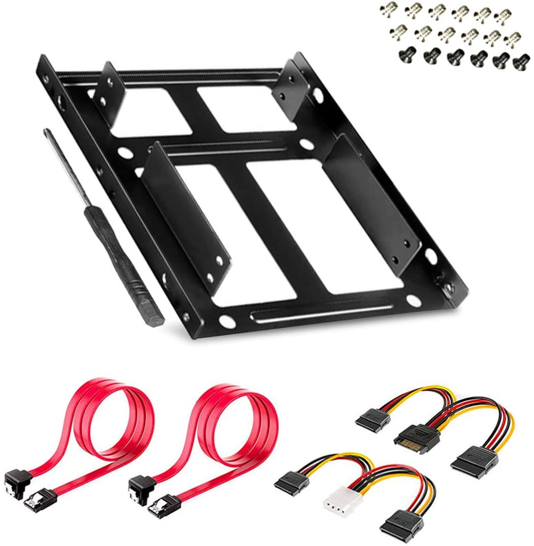 SSD/HDD Metal Mounting Bracket, Convert Any 3.5 inch Solid State Drive/HDD Into One 5.25 inch Drive Bay (2x2.5 to 3.5 Inch)