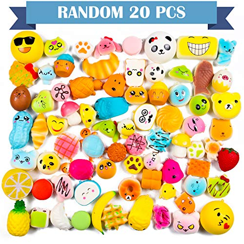 WATINC Random 70 Pcs Squishies Including 20 Pcs 2nd Generation Glitter Squishies 30 Pcs Mochi Squishies 20 Pcs Slow Rising Squishies for Mini Soft Cute Animal Cat Kid Toys Party Favors Stress Relief by WATINC (Image #1)