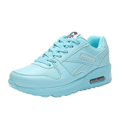 Zapatillas De Deporte Cuña Para Mujer De Cuero Artificial Impermeable Para Correr Gimnasia Zapatillas Deportivas Al Aire Libre Con Cordones Calzado Air ...