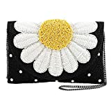 MARY FRANCES Oopsy Daisy Beaded Flower Crossbody Clutch Handbag