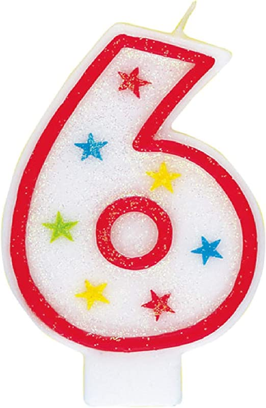Number 6 Cake Topper Glitter Black Birthday Decoration Present Gift Idea Candle