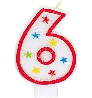 Glitter Number 6 Birthday Candle Happy Cake Topper