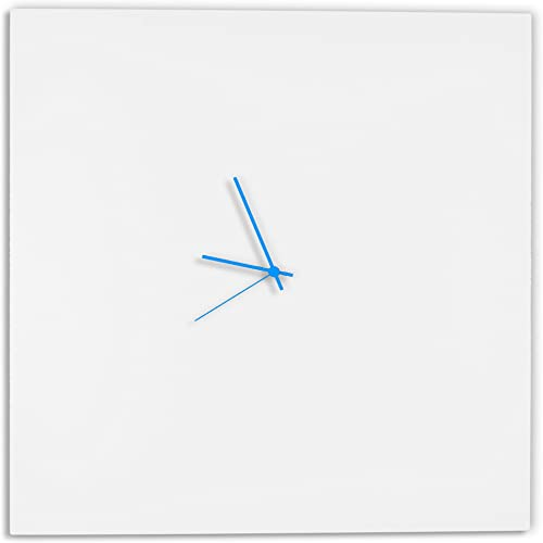 Modern White Clock Whiteout Blue Square Clock Large Minimalist Metal Wall Clocks, Contemporary Decor – 23in. White w Blue Hands