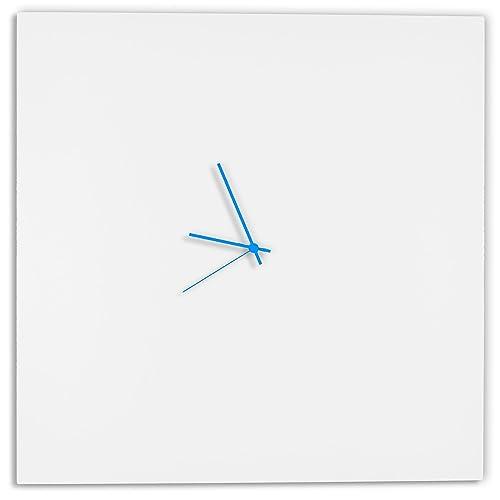 Modern White Clock Whiteout Blue Square Clock Large Minimalist Metal Wall Clock