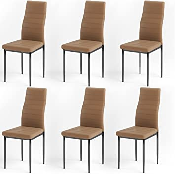 Esszimmerstuhl Sitzgruppe Essgruppe Stühle braun Hochlehner 6x Stuhl Küchen EHeW9DY2I