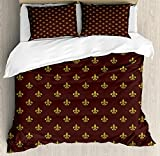 Fleur De Lis Twin Duvet Cover Sets 4 Piece Bedding Set Bedspread with 2 Pillow Sham, Flat Sheet for Adult/Kids/Teens, French Inspired Pattern European Culture Abstract Vintage Renaissance