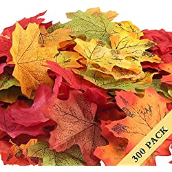 Nahuaa 300Pcs Fall Maple Leaves Artificial Silk Autumn Leaf Indoor Outdoor Home Garden Harvest Thanksgiving Party Ceremony Wedding Table Centerpieces Decor