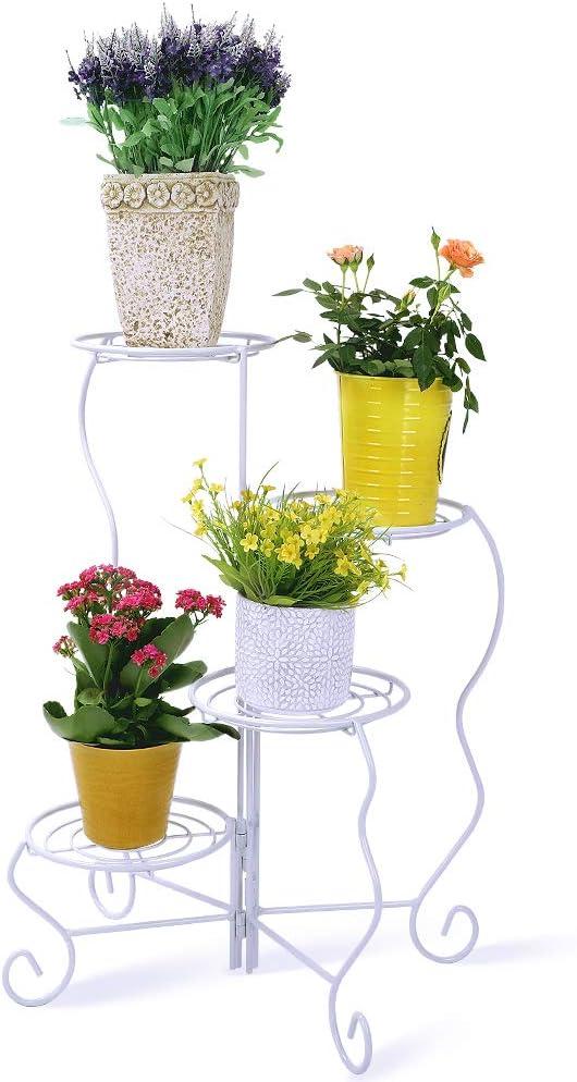 Worth 4 estantes Soporte Stand para Macetas Estanteria para Macetas Metal decoración del hogar, Plantas Dormitorio, balcón jardín Blanco