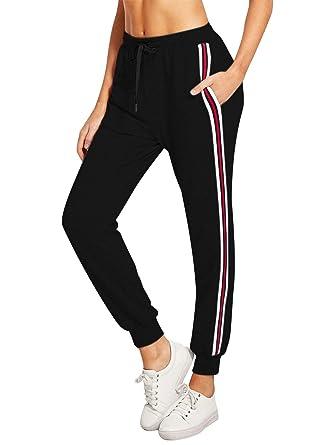Lantch Femme Pantalon Survêtement Pantalons Jogging Yoga Rayures Pantalon  de Sport Décontracté Sweatpants(Noir- 4d71d6a9de69