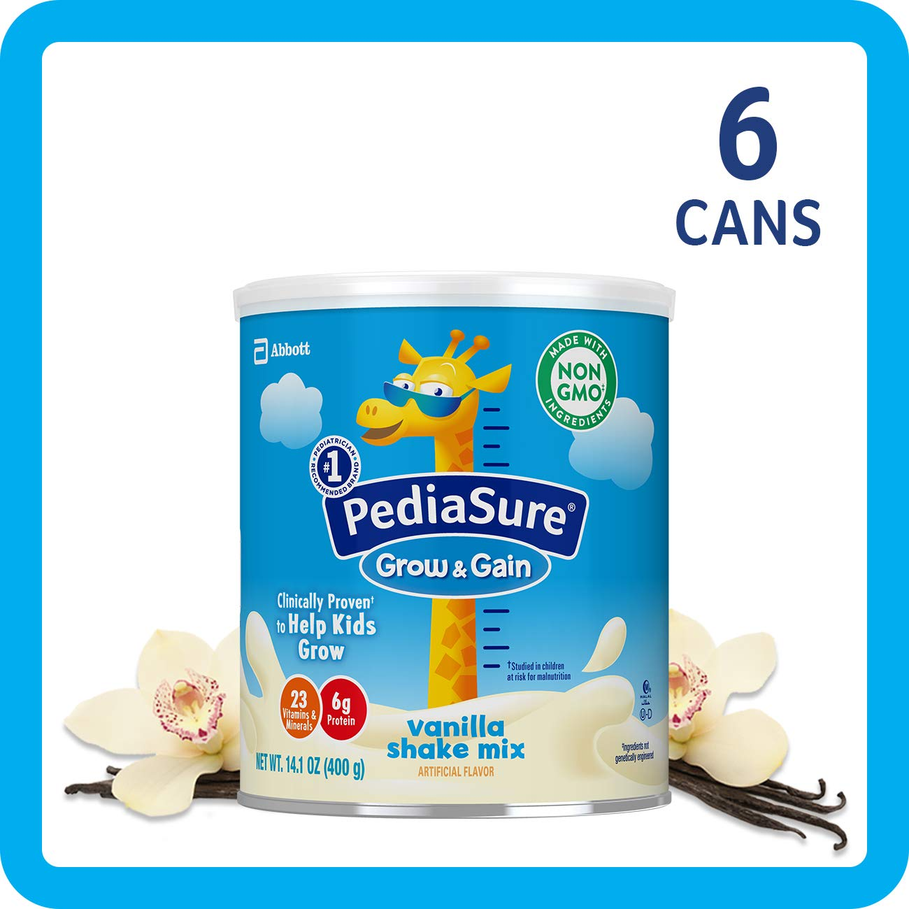 PediaSure Grow & Gain Non-GMO Shake Mix Powder, Nutritional Shake For Kids, With Protein, DHA, Antioxidants, and Vitamins & Minerals, Vanilla, 14.1 oz, 6-Count