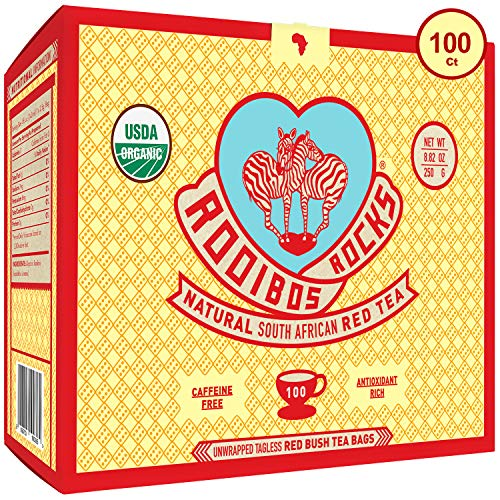 (Rooibos Tea Organic Tagless Teabags - 100 Non GMO Naturally Caffeine Free South African Red Bush Herbal Tea Bags By Rooibos Rocks - USDA Organic Rooibos Teas, A Taste of Africa - Feel the Goodness)