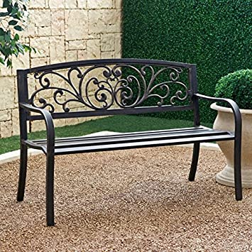 Coral Coast Metal Scrolling Hearts Curved Back Garden Bench   IP SV136F