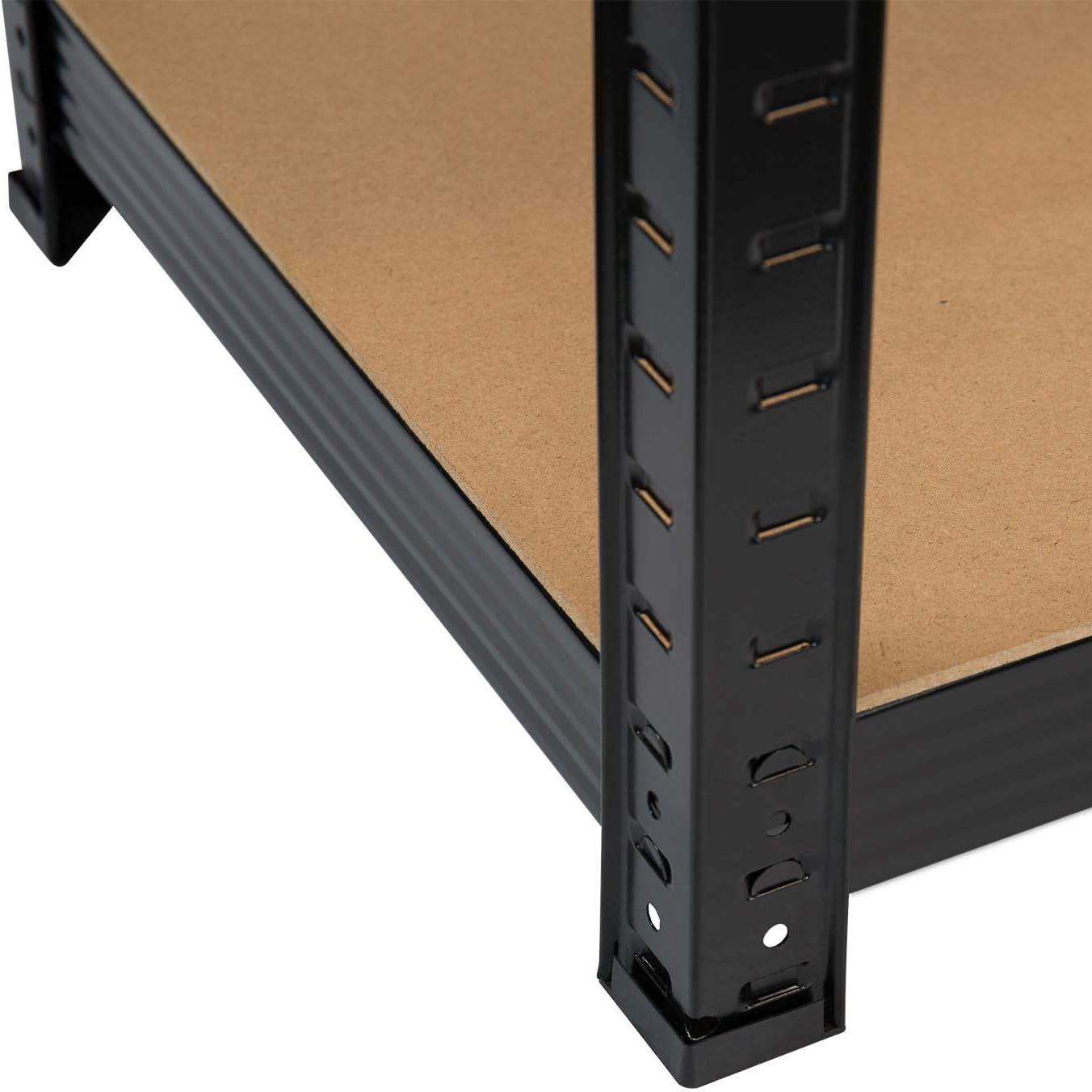 Pack 2 Estanter/ías Modulares Negras con 5 Baldas Ajustables 180x90x40cm 875Kg GH91