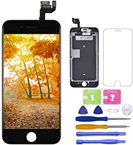 for iPhone 6S Screen Replacement Black,LCD Touch Digitizer Complete Display for A1633, A1688, A1700,with Proximity Sensor Ear Speaker Front Camera Screen Protector and Repair Tool